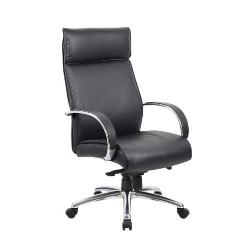 Boss High Back Executive Chair / Aluminum Finish / Black Upholstery / Knee Tilt