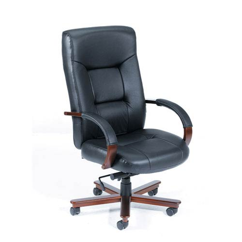 Boss Executive Leather High Back Chair with Mahogany Finished Wood with Knee Tilt