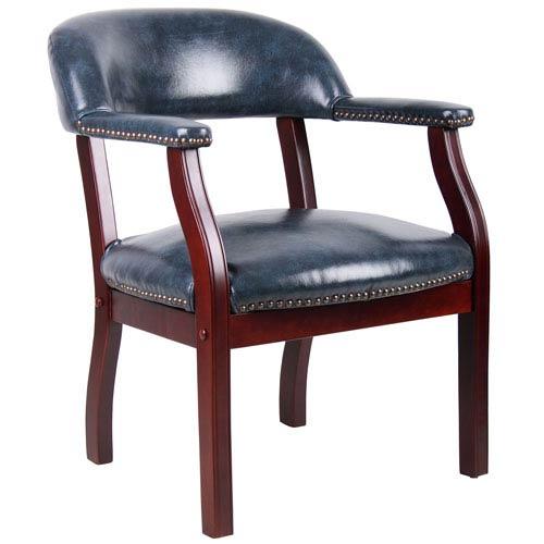 Boss Captains Chair In Blue Vinyl