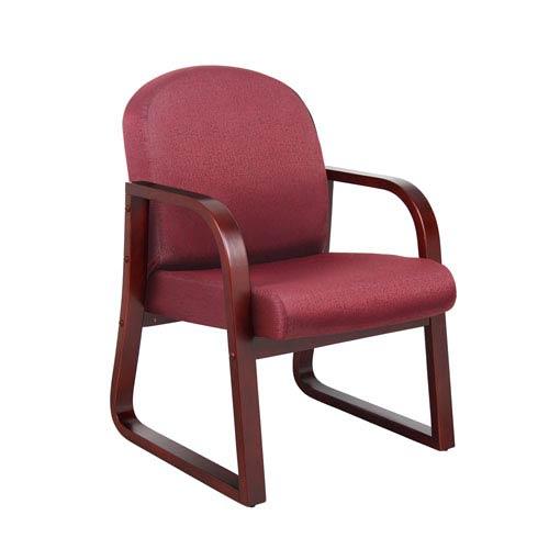 Boss Mahogany Frame Side Chair In Burgundy Fabric