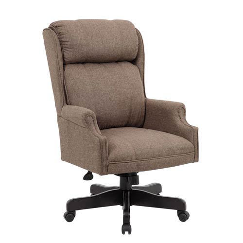 Presidential Seating Boss High Back Dark Tan Commercial Grade Linen Chair With Black Base
