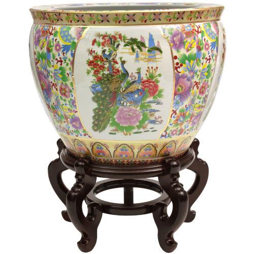 Satsuma Multicolor 20-Inch Porcelain Fishbowl Planter