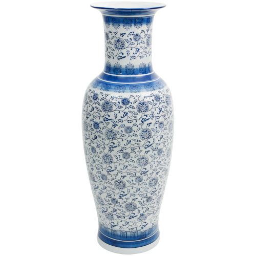 Floral Blue and White Porcelain Tung Chi Vase