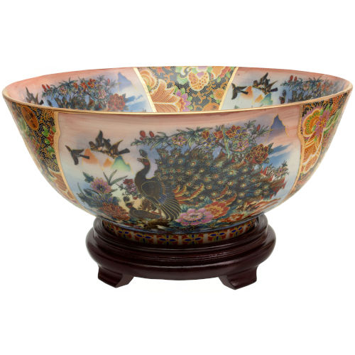 Satsuma Peacock Multicolor Porcelain Bowl