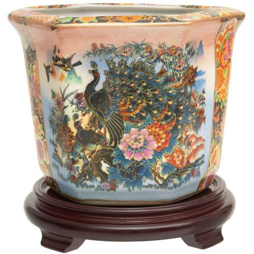 Satsuma Peacock Multicolor Porcelain Indoor Flower Pot