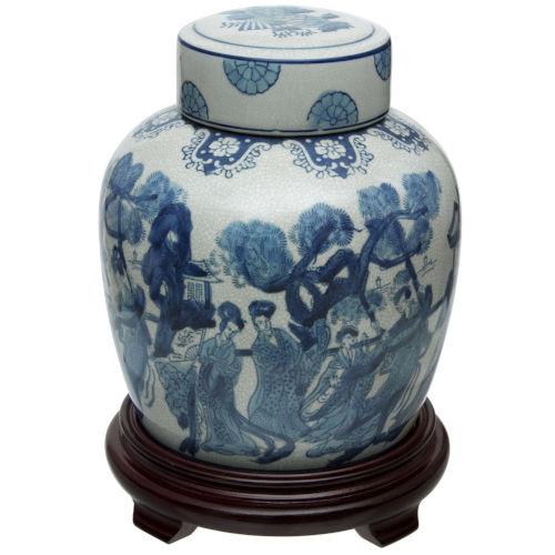 Blue and White Ladies Porcelain Ginger Jar