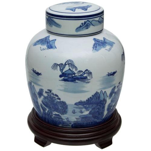 Landscape Blue and White Porcelain Ginger Jar