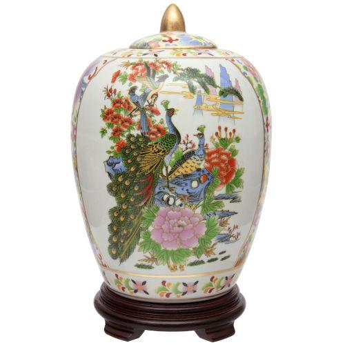 Satsuma Birds and Flowers Multicolor Porcelain Vase Jar