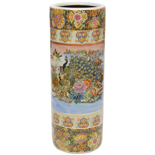 Satsuma Peacock Multicolor Porcelain Umbrella Stand