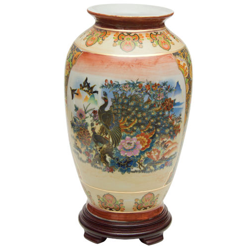 Satsuma Peacock Multicolor 14-Inch Porcelain Tung Chi Vase