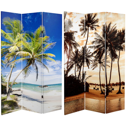 Tall Double Sided Sunset Palms Multicolor Canvas Room Divider