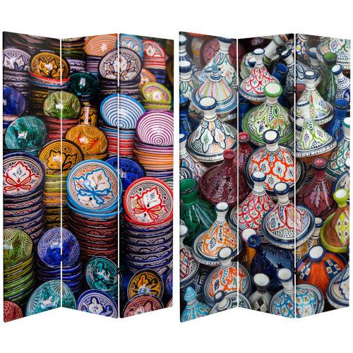 Tall Double Sided Ceramic Bazaar Multicolor Canvas Room Divider