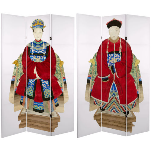 Tall Double Sided Chinese Emperor White and Red Canvas Room Divider