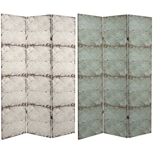 Tall Double Sided Antiqued Paneling Beige Canvas Room Divider