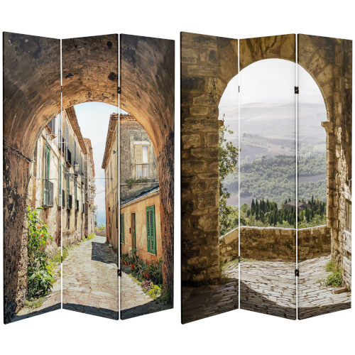 Tall Double Sided European Village Multicolor Canvas Room Divider