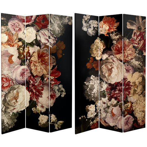Tall Double Sided Vintage Flower Black Canvas Room Divider