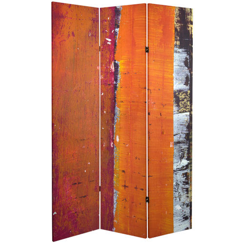 Tall Double Sided Autumn Wood Orange and Red Canvas Room Divider