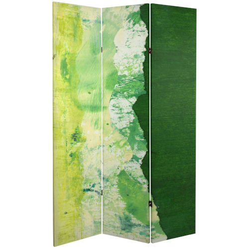 Tall Double Sided Green River Green Canvas Room Divider
