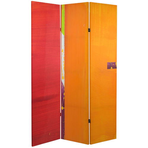 Tall Double Sided Vermilion Red and Orange Canvas Room Divider