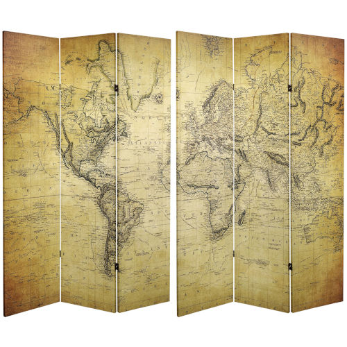 Tall Double Sided Vintage World Map Yellow Canvas Room Divider
