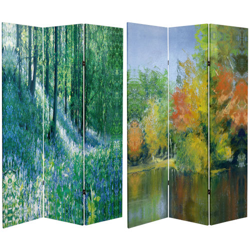 Tall Double Sided Nature Embrace Multicolor Canvas Room Divider