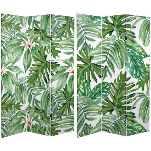 Tall Double Sided Palm Leaves Green Canvas Room Divider