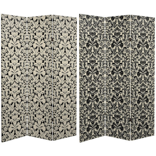 Tall Double Sided Ebony Damask Black and White Canvas Room Divider