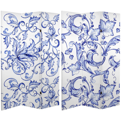 Tall Double Sided Filigree Blue and White Canvas Room Divider