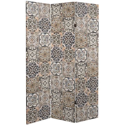 Tall Double Sided Victorian Tile Brown Canvas Room Divider