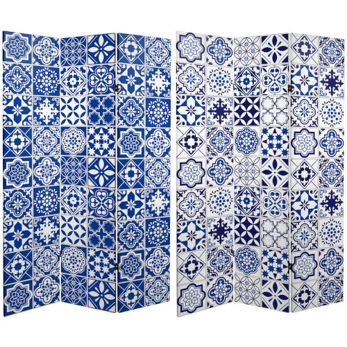 Tall Double Sided Blue and White Tile Canvas Room Divider