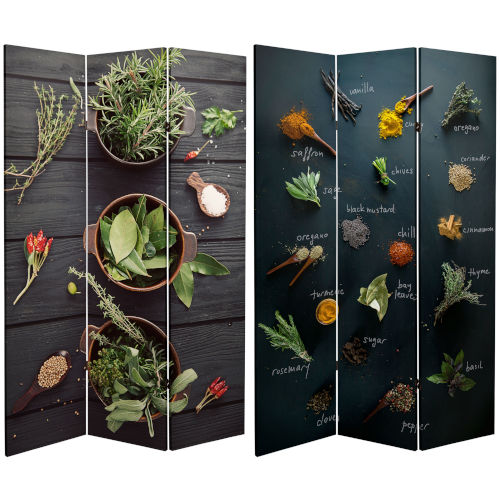 Tall Double Sided Herbs and Spices Multicolor Canvas Room Divider