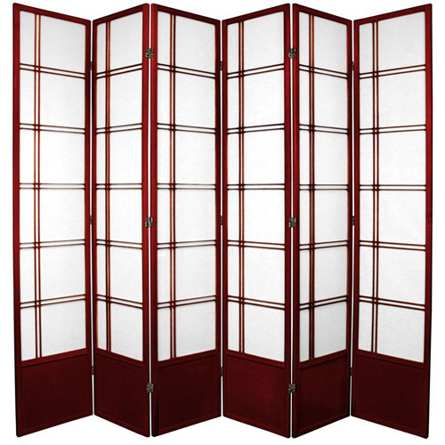 Double Cross Seven Ft. Tall Shoji Screen - Rosewood Six Panel, Width - 102 Inches