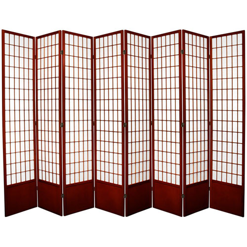 Window Pane Seven Ft. Tall Shoji Screen - Rosewood Eight Panel, Width - 119 Inches