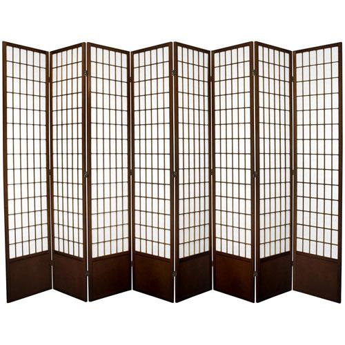 Window Pane Seven Ft. Tall Shoji Screen - Walnut Eight Panel, Width - 119 Inches
