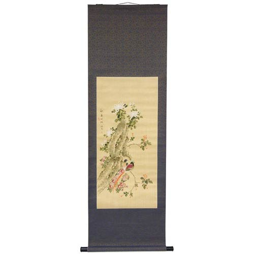 Oriental Furniture Bird on a Wire Scroll, Width - 23 Inches