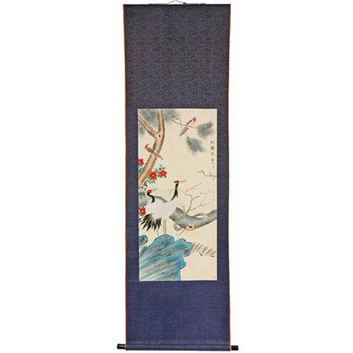Oriental Furniture Pine Tree and Crane Scroll, Width - 23 Inches