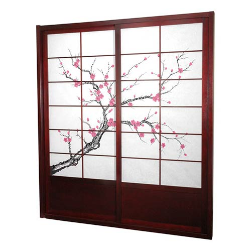 Oriental Furniture Rosewood 7-Foot Tall Cherry Blossom Shoji Sliding Door Kit