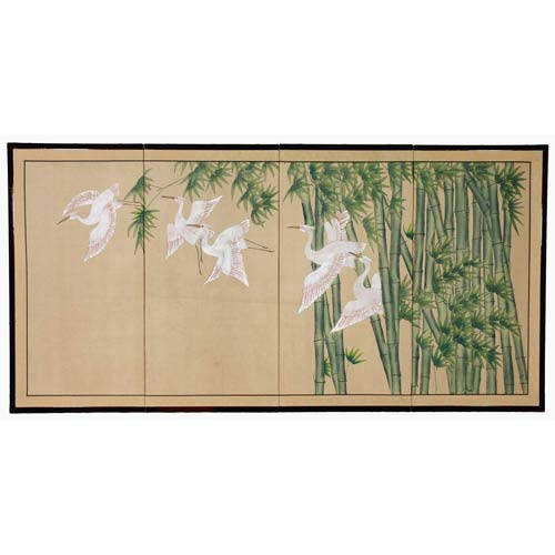 Oriental Furniture 24-Inch Bamboo Escape Silk Screen