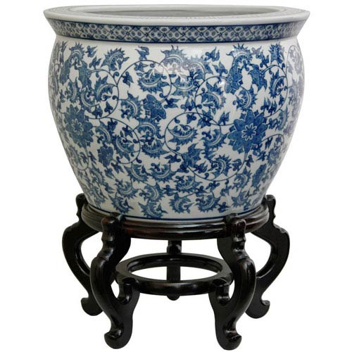 16 Inch Porcelain Fishbowl Blue and White Floral