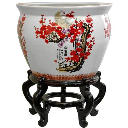 Oriental Furniture 18 Inch Porcelain Fishbowl Cherry Blossom