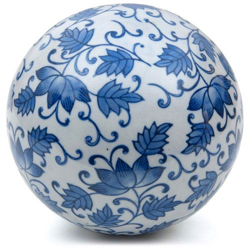 6-inch Decorative Porcelain Ball - Blue Leaves