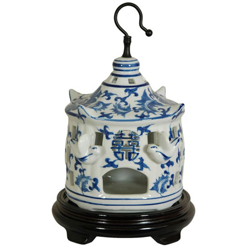 Oriental Furniture 11 Inch Porcelain Bird Cage Blue and White Floral, Width - 7.5 Inches