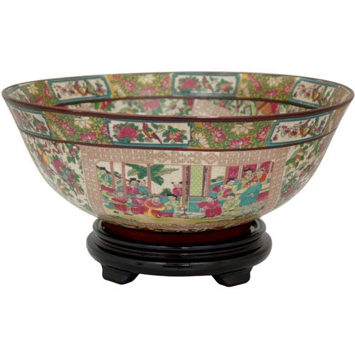 Oriental Furniture 14 Inch Porcelain Bowl Rose Medallion, Width - 14 Inches