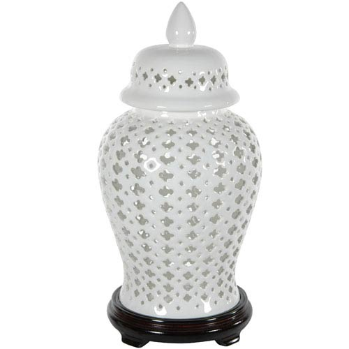 Oriental Furniture 16 Inch Carved Lattice Decorative Temple Jar, Width - 9 Inches