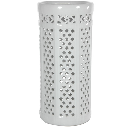 17 Inch Carved Lattice Decorative Umbrella Stand, Width - 8 Inches