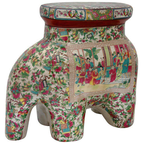 14 Inch Porcelain Elephant Stool Rose Medallion, Width - 15 Inches