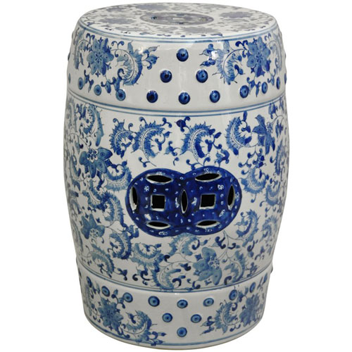 18 Inch Lacquered Porcelain Garden Stool Blue And White Floral, Width   13  Inches