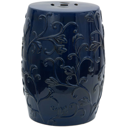 18-inch Dark Blue Carved Flowers Porcelain Garden Stool