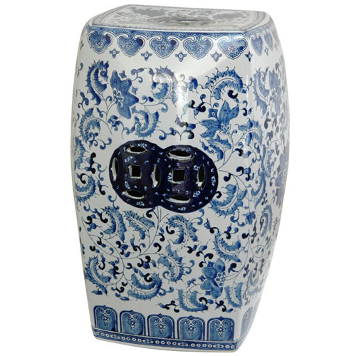 18 Inch Square Porcelain Garden Stool Blue and White Floral, Width - 12 Inches