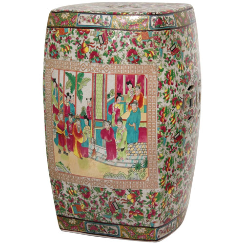 18 Inch Square Porcelain Garden Stool Rose Medallion, Width - 12 Inches